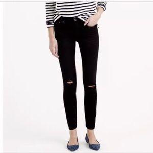 {J Crew} Black Distressed Toothpick Skinny Jeans